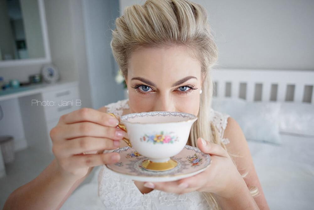 Bride having tea