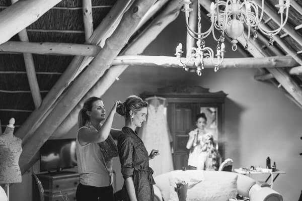 Bride prepping